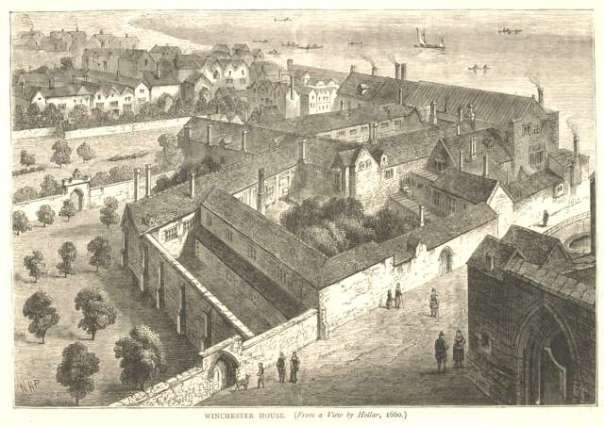 Winchester Palace by Wenceslas Hollar, 1660 (Image from Wikimedia Commons)