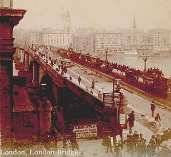 London Bridge, stereopticon card photo from early 1890s