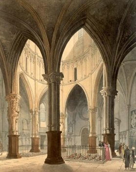 Temple Church in 1810, published in Microcosm of London (image from Wikimedia Commons)