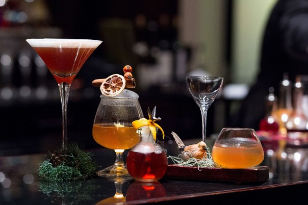 Festive cocktails @ One Aldwych's Lobby Bar: (L-R) Winter Wonderland, Almond Warmer, Bourbon Goose and Rockin' Robin