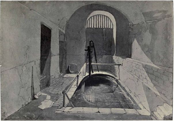 Drawing of Roman Bath in the Strand by John Wykeham Archer, 1841. Featured in 'Mediæval London' by William Benham and Charles Welch, 1901. (Image from Wikimedia Commons)