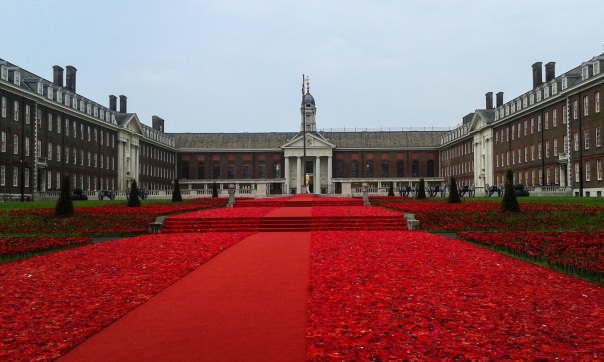 Designer Phillip Johnson's field of nearly 300,000 handmade poppies adorned the steps outside the Royal Hospital Chelsea at the RHS Chelsea Flower Show 2016