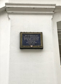 A plaque marking Shakespeare's Blackfriars home