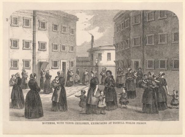 Mothers children exercising Tothill Fields Prison John Johnson Wikimedia Commons