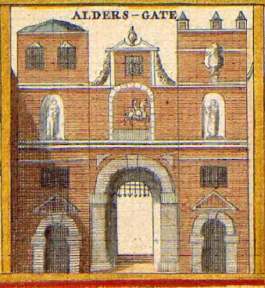 Aldersgate Wenceslaus Hollar 1690 Wikimedia Commons